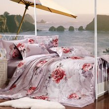 全棉活性贡缎四件套纯棉结婚庆床上用品欧式床笠4件套米卡多家纺A214
