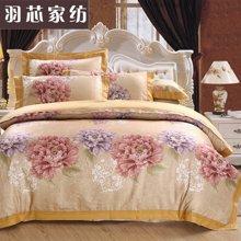 羽芯家纺 活性印染 宫庭奢华风全棉贡缎提花床上用品四件套YC20140022花韵
