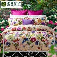 雅兰家纺 全棉高支高密斜纹床上用品 床单家纺四件套 微雨弄晴