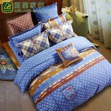 雅兰家纺 全棉磨毛四件套 32支床单款套件 双面 都市牛仔 磨毛纯棉四件套