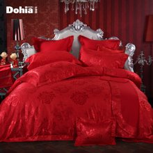 多喜爱家纺婚庆四件套提花结婚床上用品红色床品套件-醉月金朝