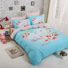 VIPLIFE家纺 全棉四件套纯棉床上用品床单被套清新文艺优雅风床品套件