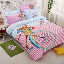 VIPLIFE家纺 全棉四件套纯棉床上用品床单被套清新文艺风床品套件