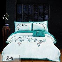 乐加 春夏纯棉婚庆四件套全棉被套床单绣花套件简约绿色床上用品-落春