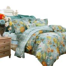 富安娜家纺床上用品四件套全棉床品纯棉床单4件套 纯棉床上用品套件宛若清风