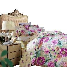 【下单折上8折】富安娜家纺 床上用品四件套 1.5米/1.8米床原创印花全棉套件 百卉含英