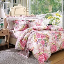 富安娜家纺床上用品四件套全棉床品纯棉床单4件套 床单被套枕套四件套水墨凝彩