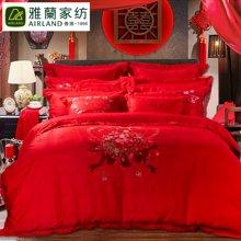 【下单立减50%】 香港雅兰家纺 全棉高密大提花婚庆床品8件套 爱意浓八件套