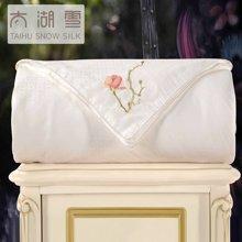 太湖雪蚕丝被桑蚕长丝秋冬被芯花香刺绣白色