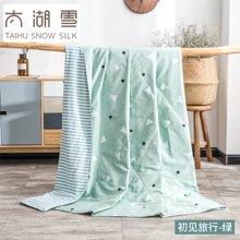 太湖雪 100%蚕丝夏凉被 空调被 全棉被芯 双人可水洗 专柜正品