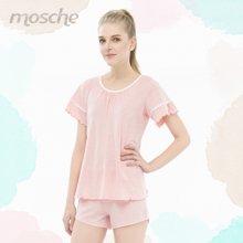 夏季 短袖粉色女睡衣套装 可外穿家居服套装 4508