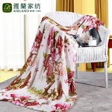 雅兰家纺 柔软舒适法兰绒双人保暖舒适毛毯子 单层 姹紫嫣红