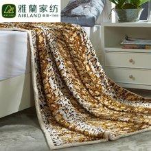 雅兰家纺豹纹超柔加厚双层法兰绒毛毯被午睡盖毯 风情双层云毯
