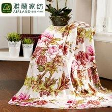 雅兰家纺 抗寒保暖双层加厚法兰绒毛毯子姹紫嫣红冬厚毯 双层毯