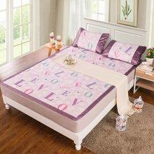 米卡多可折叠夏季单人软凉席子学生床冰丝席三件套1.8m床1.5-爱米丽-紫