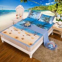 米卡多可折叠夏季单人软凉席子学生床冰丝席三件套1.8m床1.5-爱的海洋