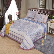 羽芯家纺 提花款生态可水洗床单 床裙式冰丝席空调席夏凉席床上用品三件套YC870017