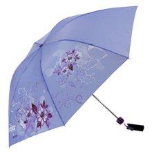 天堂伞高密素色聚酯纺三折晴雨伞防晒遮荫-339S丝印系列/花色系列/格子系列