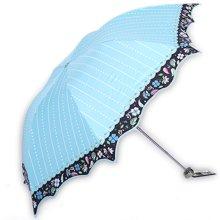 天堂伞黑胶丝印压花波浪边三折超轻晴雨伞-33168E杏雨梨云