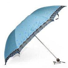 天堂伞黑胶布三折晴雨伞386E杏花如雨