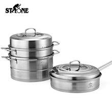 司顿不锈钢汤蒸两用锅具套装 STH048