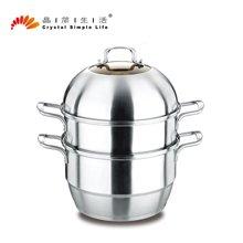 晶简新全能二层电磁炉通用复底组合盖蒸锅大容量家用蒸锅