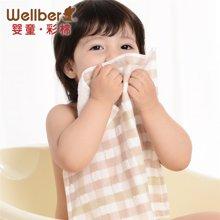 威尔贝鲁 纯棉纱布婴儿毛巾 宝宝洗脸巾小方巾 新生儿手帕口水巾(2条装)