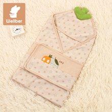 威尔贝鲁 纯棉婴儿抱被新生儿包被 彩棉包巾婴儿抱毯春秋薄棉