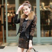百依恋歌 韩版女装加绒保暖拼接PU皮长袖外套豹纹衣 1666