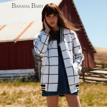 BANANA BABY新款韩版格子宽松长袖毛呢外套女中长款上衣B54W197