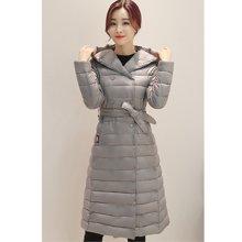 亿族 冬季新款韩版修身过膝羽绒棉服女中长款轻薄棉衣