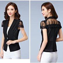 亿族 春季新款OL修身显瘦纱网短袖短外套薄款小西装外套