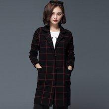 百依恋歌 韩版新款中长款针织衫女士翻领显瘦格子外套 BL268