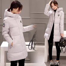 绮娑 冬季新款韩版修身加厚棉衣连帽中长款女保暖羽绒服外套