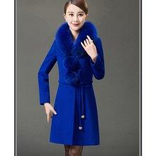 亿族 冬季新款大码女装加厚羊绒中长款中年毛呢大衣妈妈装外套