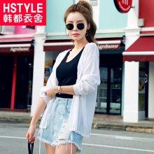 韩都衣舍2018韩版女装夏装新款显瘦连帽针织薄款短外套HH7251堯