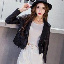 妙芙琳 2017秋季女士新款韩版机车圆扣拉链短款修身显瘦机车PU皮衣小外套