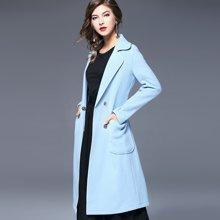 法米姿 秋冬季新款毛呢大衣欧美修身双面呢子大衣长袖毛呢外套女装 67177