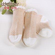 威尔贝鲁 宝宝袜子 儿童纱袜春夏款纯棉 男女童袜子中筒网眼薄袜