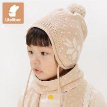 威尔贝鲁 纯棉婴儿帽子 新生儿宝宝帽子 儿童帽子秋冬毛线护耳帽