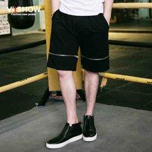 viishow夏装新款短裤 欧美街头休闲短裤男 宽松五分裤黑色潮KD72762