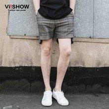 viishow夏装新款短裤男 欧美街头大码休闲短裤格纹五分裤中裤KD24552