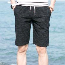 花花公子贵宾 2018夏季新款宽松复古直筒短裤迷彩图案中裤沙滩裤