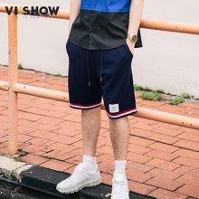 VIISHOW夏装新品休闲短裤男红白条纹脚口男士复古运动短裤潮 KD1269172