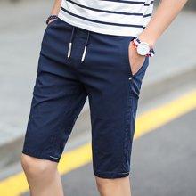 卓狼男士休闲短裤 夏季青年商务男裤子棉质休闲纯色短裤K7010GT