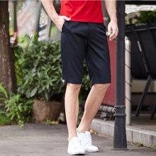 千纸鹤男士夏装运动裤 青年时尚纯色修身减压弹力 五分短裤男 HMHT9686