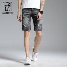 A LA MASTER 弹力修身牛仔短裤男 破洞五分裤休闲短裤薄款男16635S