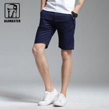 A LA MASTER 男装亚麻休闲裤 棉麻短裤男 纯色直筒中裤薄17672S