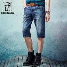 A LA MASTER 男士牛仔短裤夏季五分裤休闲马裤中裤15627S