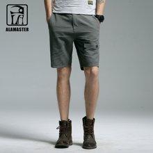 A LA MASTER 夏季男装短裤 纯棉休闲短裤男简约纯色短裤男薄17667S